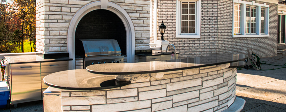 Indoor and Outdoor Stone Kitchens
